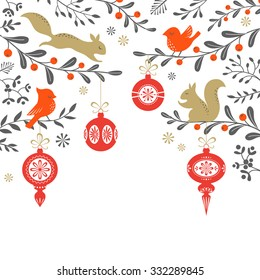 Christmas floral background with birds, squirrel, ornaments and place for your text. Vector is cropped with Clipping Mask.
