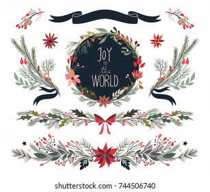 Christmas floral collection with hand drawn ornamental branches, wreath and bouquets