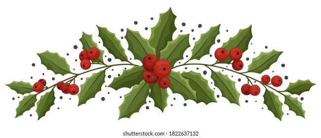 Christmas floral composition with holly berry. Modern design for Holidays invitation card,  poster, banner, greeting card, postcard, packaging, print. Vector illustration.
