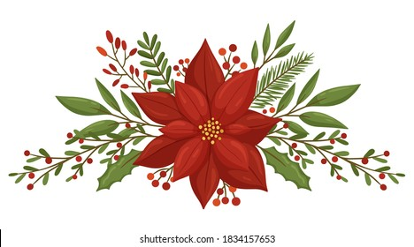 Christmas floral composition with winter plants and berries. Modern design for Holidays invitation card,  poster, banner, greeting card, postcard, packaging, print. Vector illustration.