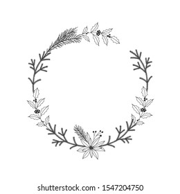 Christmas floral hand drawn wreath on white background