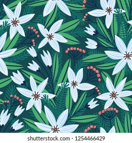 Christmas floral print for fabric,  wrap paper or wallpaper. Vector hand drawn seamless pattern with winter flowers.