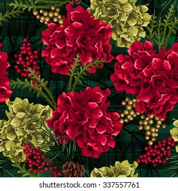 Christmas flowers with fir branches and red berries. Seamless pattern.