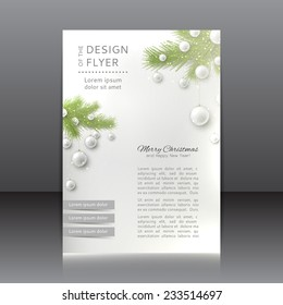 Christmas flyer with with fir-tree and toys. Vector design of flyer for Happy New Year.