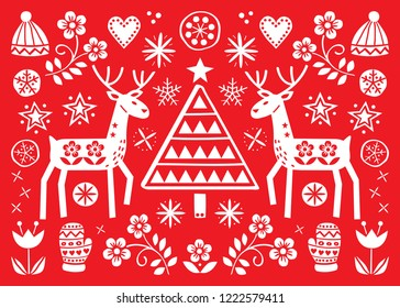 Christmas folk art greeting card with reindeer, flowers, Xmas tree and winter clothes pattern in white on red background - Merry Christmas decoration. Cute Scandinavian style retro design with deer
