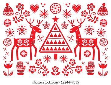 Christmas folk art greeting card with reindeer, flowers, Xmas tree and winter clothes pattern in red on white background - Merry Christmas decoration.   Cute Scandinavian style retro design with deer