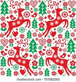 Christmas folk red and green seamless vector pattern, Scandinavian folk art, reindeer, birds and flowers decoration, wallpaper