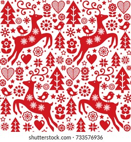 Christmas folk red seamless vector pattern, Scandinavian folk art, reindeer, birds and flowers decoration, wallpaper
