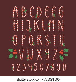 Christmas font candy cane vector type alphabet New Year card print design font characters and numbers for invinattion design Xmas design. Candy Christmas font