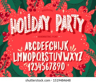 Christmas font. Holiday typography alphabet with season wishes and festive illustrations. Type design for holiday new year celebration. Design vector background with hand-drawn lettering.