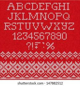 Christmas Font: Scandinavian style seamless knitted