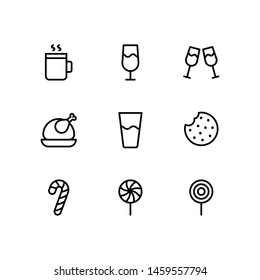 Christmas Food, Drink and candies Line Icons