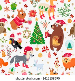 Christmas forest animals pattern. Winter xmas illustration. Floral woodland background with christmas cartoon characters and decoration in flat style. For textile, wallpaper, scrapbooking.