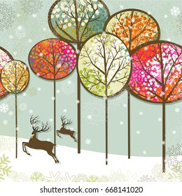 Christmas forest and reindeer
