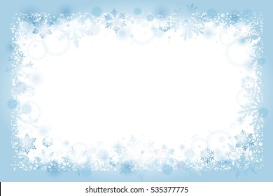 Christmas frame background with blue snowflakes