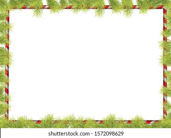 Christmas Frame Background with Fir Tree Branch Border and Candy Banner