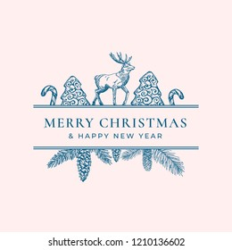 Christmas Frame Banner with Vintage Typography and Hand Drawn Holiday Illustrations. Merry Christmas Greeting Card or Label. Cookie, Candy Cane and Reindeer with Strobile Branch. Isolated.