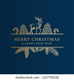 Christmas Frame Banner with Vintage Typography and Hand Drawn Holiday Illustrations. Merry Christmas Greeting Card or Label. Cookie, Candy Cane and Reindeer with Strobile Branch. Golden on Blue.