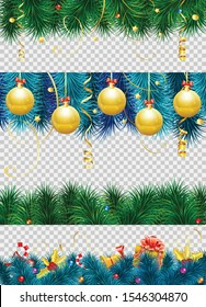 Christmas frame with baubles, fir branches, mistletoe, streamer, gift and Christmas border decoration. isolated vector illustration on transparent background