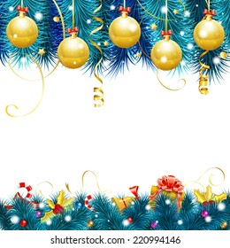 Christmas Frame with Baubles, Fir Branches, Gold Streamer, Candy, Gift and Confetti, vector isolated on white background.