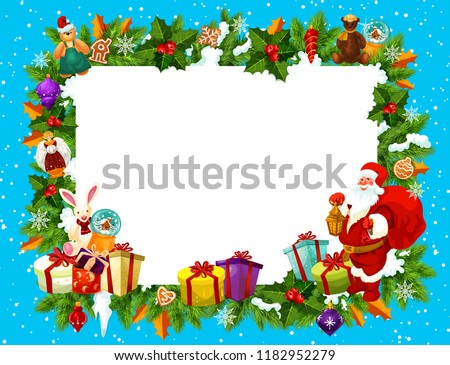 christmas frame with blank space for new year holiday greeting card blank paper edged with