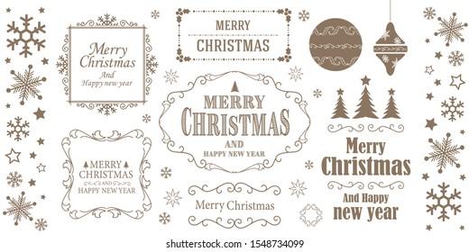 Christmas frame design. Snow crystal motif.