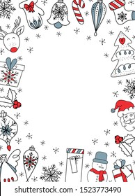 Christmas frame with gifts, santa claus, deer, angel, balls, trees, stars and snowflakes. Doodles and sketches vector illustration, isolated elements.