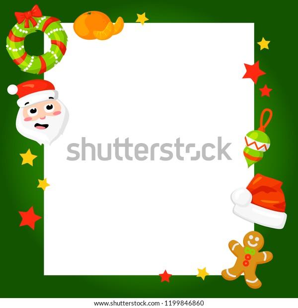 Christmas Card Clip Art.Christmas Frame Holly Decoration Vector Illustration Stock