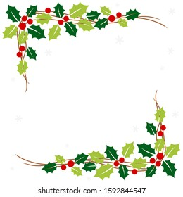 Christmas frame with holly leaves in the corner