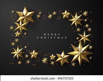 Christmas Frame made of Cutout Gold Foil Stars on Black Background. Chic Christmas Greeting Card.