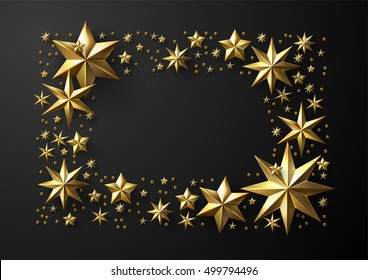 Christmas Frame made of Cutout Gold Foil Stars with Free Space for Your Holiday Wishes.