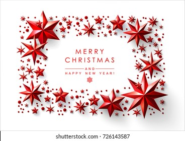 Christmas Frame made of Cutout Red Foil Stars with Holiday Wishes.