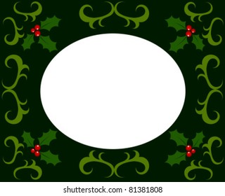 Christmas frame made of holly berry. Vector illustration