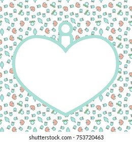 Christmas frame with pattern in shape of heart ball. Empty template for greeting card or invitation. Simple line art style.