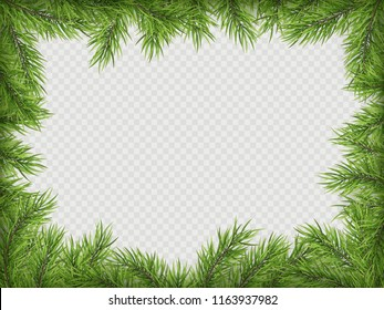Christmas frame with pine branches and shadow. EPS 10