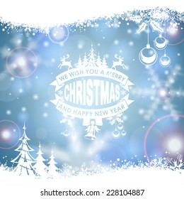 Christmas Frame with Retro Label, Tree, Deer, Bauble and Snowflake on Blurred Bokeh Background. Vector Template for Flyers and Brochure.