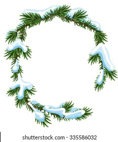 Christmas frame spruce branches in snow. Isolated illustration in vector format