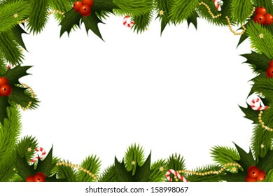 Christmas Frame Template with holly candy cane and decoration