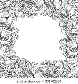 Christmas Frame With Tree Gift Box Bells In Doodle Style Floral