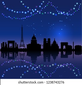 Christmas French background with Paris silhouete and colored lights