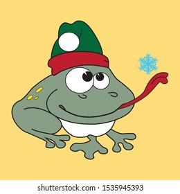 Christmas Frog Elf with snowflake. Cartoon animate illustration.