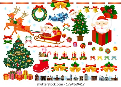 Christmas fun illustration, Christmas tree, Santa Claus