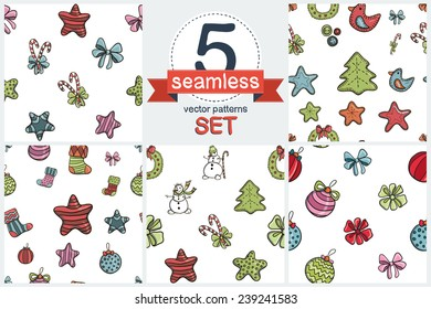 Christmas funny cartoon elements. Set of 5 vector seamless pattern.
