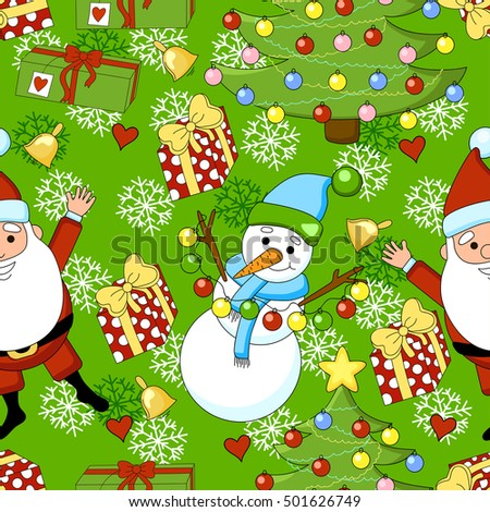 Christmas Funny Cartoon Pattern With Santa Clausa Snowman A Gift Bell