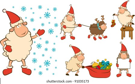 Christmas funny sheep with gifts. Vector set