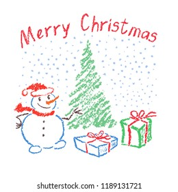 Christmas funny smiling snowman on white. Falling snowflakes with christmas tree and box gift. Crayon, pencil or pastel hand drawn holiday vector snow copy space. Like kids drawing vector background