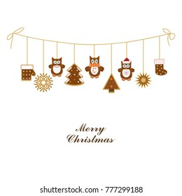Christmas garland of chocolate cookies with owls and decorations. Vector illustration.