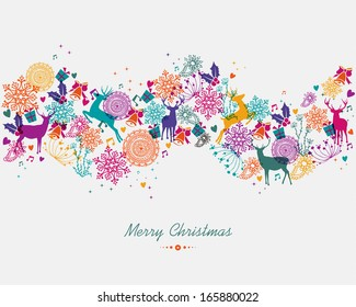 Christmas garland colorful holiday elements isolated background. EPS10 vector file organized in layers for easy editing.