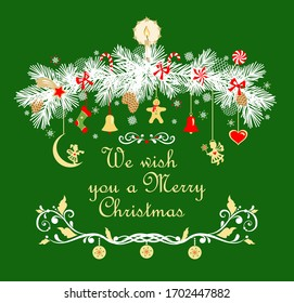 Christmas garland with conifer paper cutting white branches and hanging angels, jingle bell, candy, candle, sock, gingerbread on the green background.