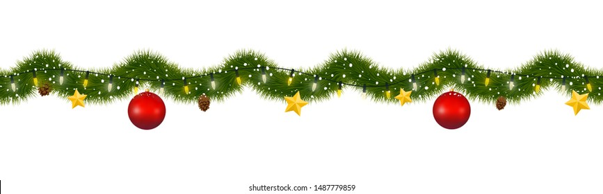 Christmas garland covered with snow. New year tinsel of fir with party lights, christmas balls, golden stars and pine cones